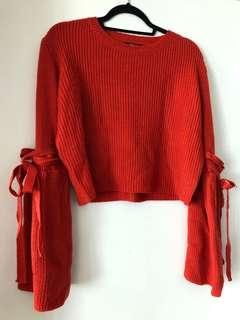 Paper heart red/orange crop bell sleeve sweater large