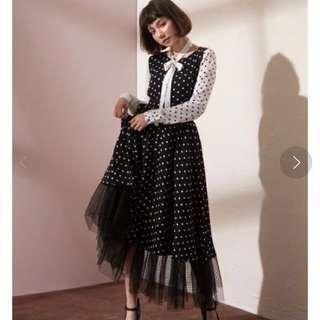 Marjorie 雙重身份,點點拼接黑紗長裙,有吊牌,原價2250
