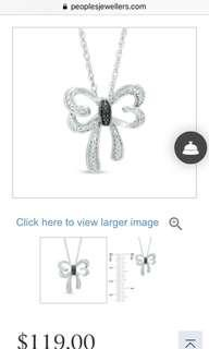 Sterling Silver, Diamond Accented Butterfly Necklace