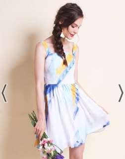 BNWT Neonmello Jenna summer sun dress - blue abstract