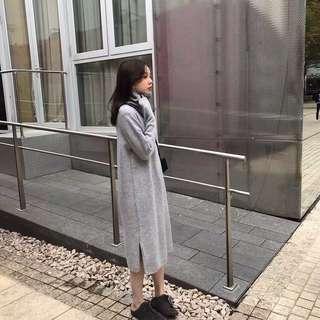 🚚 全新 灰色長版針織連身洋裝