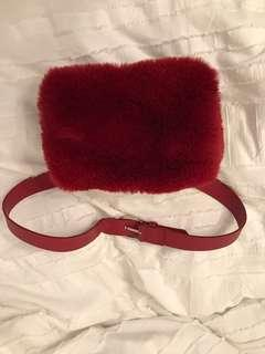FREE PEOPLE fuzzy red fanny pack belt bag