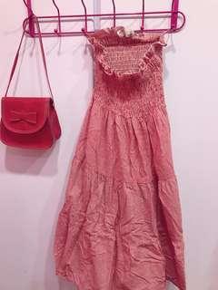 🚚 紅格子平口小洋裝/長裙