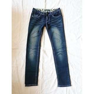 深藍色牛仔褲刷白刷色丹寧褲牛仔長褲褲子窄管褲AB褲貼腿褲緊身褲