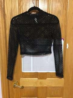 Netted Long Sleeve Crop Top