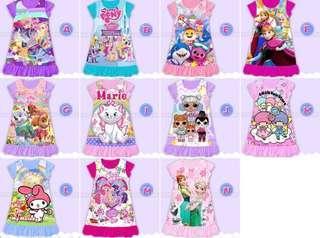 🚚 Kids Pyjamas dress paw patrol frozen pony Marie kitty LOL melody twin star pyjamas ( 11 designs)