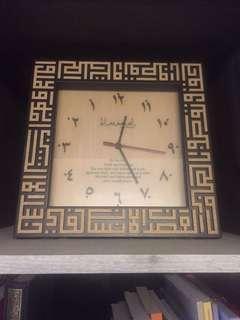 Anti-clockwise Wood Engraved Kufi Khat Clock