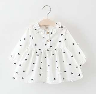 🚚 🌟PM for price🌟 🍀Baby Girl Petal Collar Long Sleeves Dots Dress🍀