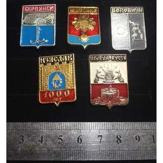 🚚 Lot of 5 Soviet/Russian Pins - #10031