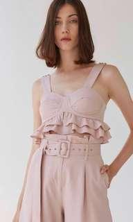 Collate the label belle cropped bustier top in blush M