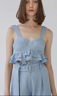 Collate the label belle cropped bustier blue M
