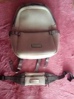 authentic gray & white Calvin Klein performance backpack bag
