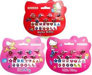 🚚 【現貨】戒指+耳貼超值組【晴陪我玩❤玩具】 Hello Kitty 正版授權