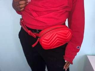 M boutique red fanny pack