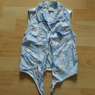 🚚 花花藍色無袖襯衫背心