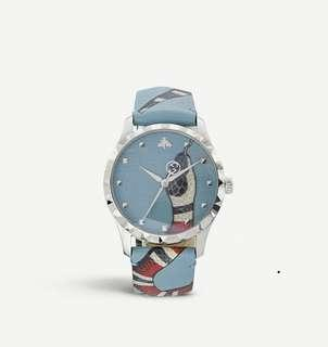 💯 Authentic full set Gucci stainless steel and leather snake watch