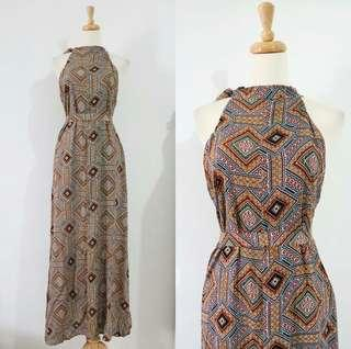 ❤ Halter Neck Brown Vintage Maxi Dress