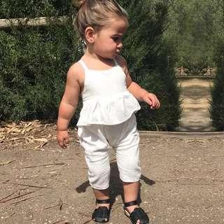 🚚 ✔️STOCK - WHITE STRAP COTTON FLARE RUFFLE TOP SLEEVELESS JUMPER LONG PANTS OVERALL JUMPSUIT NEWBORN BABY TODDLER GIRLS KIDS CHILDREN CLOTHING