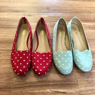 Polka Dot Flats, Red / Teal