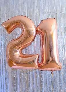 "32"" foil balloon '21' rose gold"