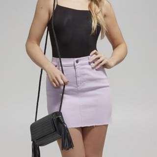 bardot lilac purple denim mini skirt size 6