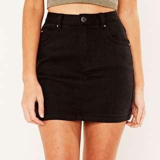 glassons black denim mini skirt size 6