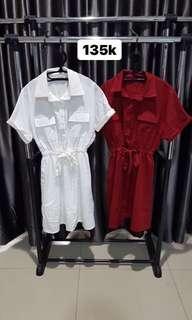 Dress white and red bangkok