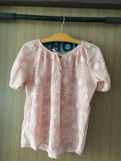 🚚 Pink comfy laced print top