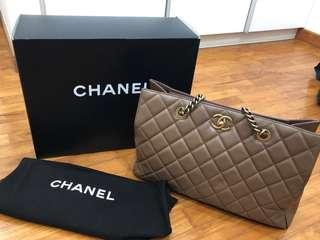 Chanel Taupe Quilted Lambskin Shoulder bag