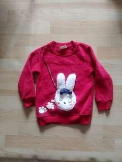 🚚 9號紅色兔兔內刷毛上衣