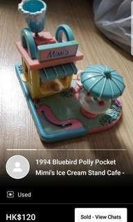 1994 bluebird polly pocket - mimi's ice cream stand cafe