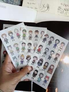 3 Sheets Washi Doll Stickers Stationery