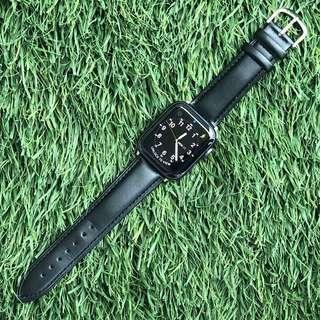 Apple Watch 42/44 mm Black Leather Strap Tali Band Kulit Hitam Jam