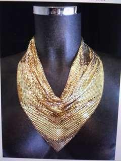 Whiting & Davis Gold Metal Chain Mesh Collar