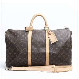 100% Authentic Louis Vuitton Keepall Bandouliere 50 with Strap Bag a1298ff089e02