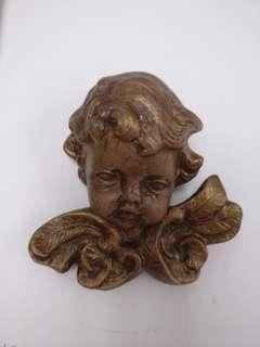 歐洲古董 陶瓷可愛小天使掛牆裝飾