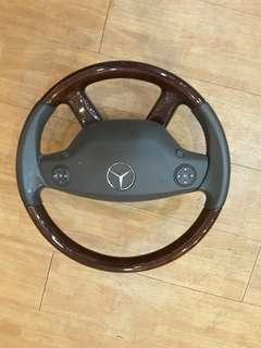 🚚 MB W221 WOODEN FINISHED STEERING WHEEL WITH AIRBAG