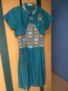 Mini Dress batik hijau