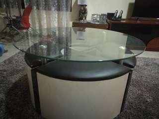 Sofa table with four stools