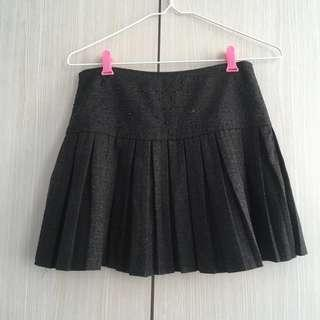 Low Waist Bead Details Grey Pleated Tennis Skirt