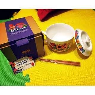 陶瓷彩繪大湯杯 2010台北市花卉博覽會紀念大湯杯 付筷子