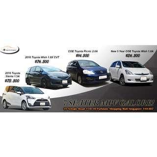 Toyota 7 Seater MPVs Wish Picnic Toyota