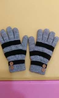 條紋針織手套