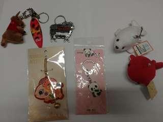 Assorted keychains (ehale, seal, panda, sheep, kangaroo)