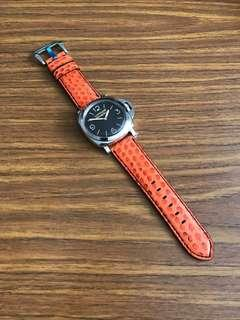 d842b18077f 26mm 24mm Genuine Hermes Orange 🍊 Python Watch Strap - seen on a PAM