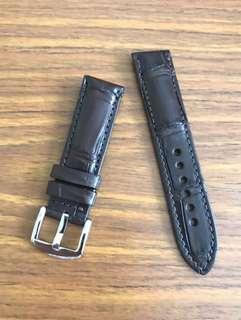 🚚 22mm/20mm Genuine Dark Pecan Brown Alligator 🐊 Crocodile Watch Strap 👍🏻Breitling Chronograph Jean Richard Blancpain Diver