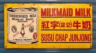 Vintage Milkmaid Tin Sign