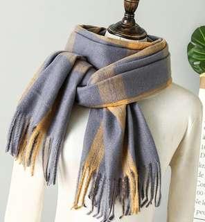 現貨 圍巾/加厚羊絨圍巾350克/超柔軟羊絨圍巾/英倫格紋 /格子圍巾/厚實保暖/有質感/披肩