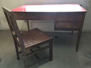 Antique Teak Table and Chair