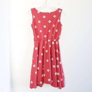 True love dark pink dress S small floral print open back